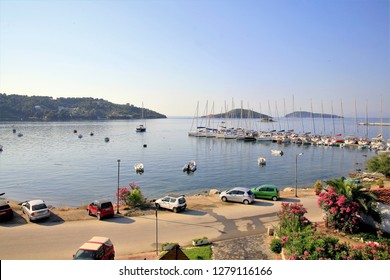 Skiathos, Greece. June 14, 2014.  The view of the New Port and bay from the Alkyon hotel at Skiathos town on the Greek Island of Skiathos, Greece.
