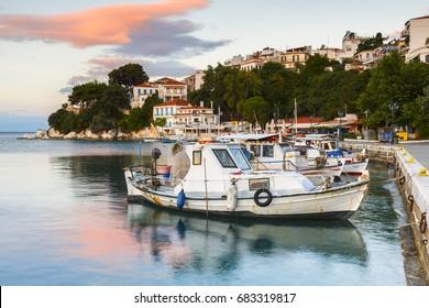 Skiathos, Greece - June 19, 2017: Morning view of the harbour on Skiathos island, Greece.