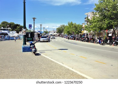 Skiathos, Greece. June 20, 2014. The seafront at the New Port in Skiathos Town on Skiathos Island in Greek Islands at Greece.