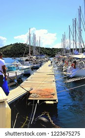 Skiathos, Greece. June 20, 2014.   The Marina in the New port at Skiathos town on the Island of Skiathos in the Greek Islands, Greece.