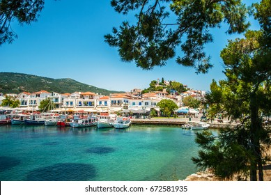 Skiathos, Greece - June 27, 2011: The blue sea with yachts and boats on the water, Skiathos, Greece