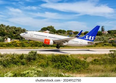 Skiathos, Greece - June 4, 2016: SAS Scandinavian Airlines Boeing 737-700 airplane at Skiathos airport (JSI) in Greece.