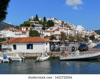 Skiathos, Greece - Sept. 13, 2018 view of the cityscape of Skiathos on a warm summer day
