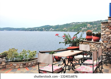 Skiathos, Greece. September 09, 2017. A relaxing view from a balcony in the Plakes area at Skiathos Town on the Island of Skiathos in Greece