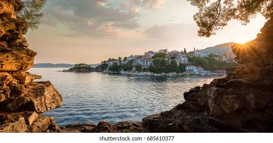 Skiathos harbor at sunset