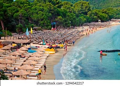 SKIATHOS ISLAND, NORTHERN SPORADES, GREECE- June 24. 2018. World famous Koukounaries beach.