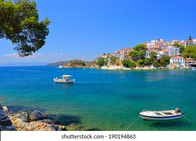 Skiathos town bay in summer,  Skiathos island, Sporades archipelago, Greece