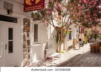 Skiathos town, Skiathos island, Greece - 05 21 2013 : Street with oleander tree and shops at Skiathos town, Skiathos island in Greece