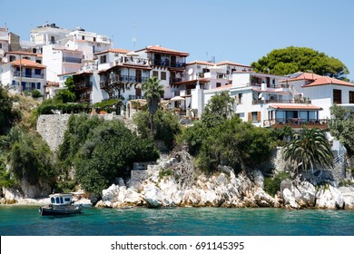 Skiathos town, Skiathos island in Greece, July 26th 2017: All architecure and narrow streets with colorful backgrounds and small houses in amazing Skiathos town