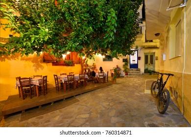 SKIATHOS TOWN, SKIATHOS ISLAND, GREECE - JULY 13, 2017: Skiathos Old Town Alley at Night