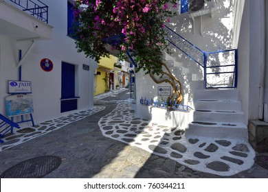 SKIATHOS TOWN, SKIATHOS ISLAND, GREECE - JULY 10, 2017: Skiathos Old Town Alley at Day