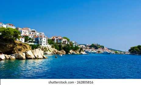 Skiathos Town In Skiathos Island, Greece. It is located in the northern part of Sporades islands group. The main towns are the Town of Skiathos it is located to the northeast next to a lagoon.