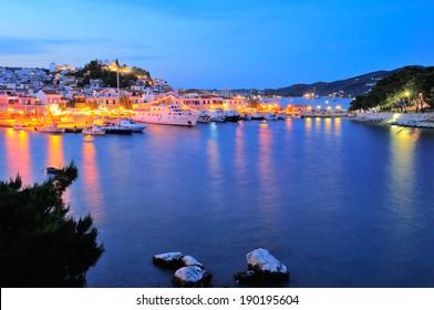 Skiathos town at night,  Skiathos island, Sporades archipelago, Greece