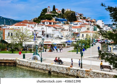Skiathos village view and main square of the city, Greek island