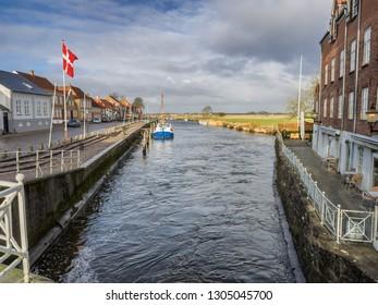 Skibbroen harbor in ibe medieval city in Denmark