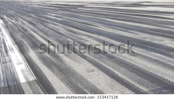 Skid marks on asphalt