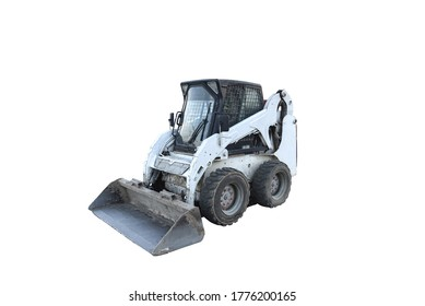 Skid steer loader isolated on white background. Сompact construction equipment for work in limited conditions. Road repair at construction site and works on city streets