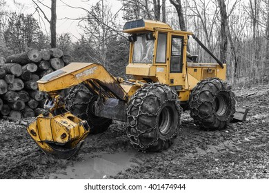 Skidder found in the forest in eastern Connecticut.