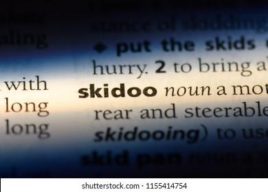 skidoo word in a dictionary. skidoo concept.