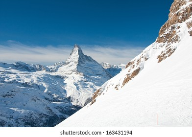 Skie slope with Matterhorn in background