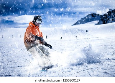 Skier and Alps landscape