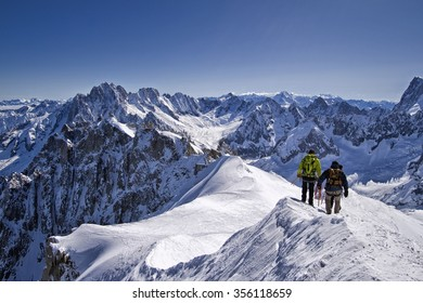 Skier from a ballad in ski in the massif of the Mont Blanc