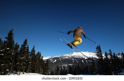 A skier coming in for a landing in Whistler, BC.