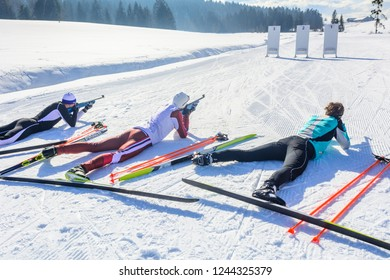 skier doing biathlon shooting