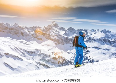 Skier enjoying panoramic view
