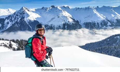 Skier enjoying panoramic view