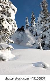 A skier glides through fresh powder on a sunny day.