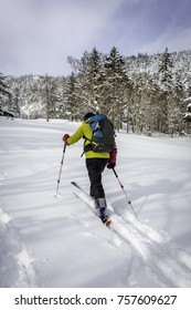 Skier heading towards shelter