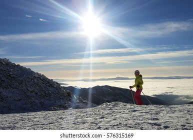 Skier in Jasna Ski Resort, Carpathians