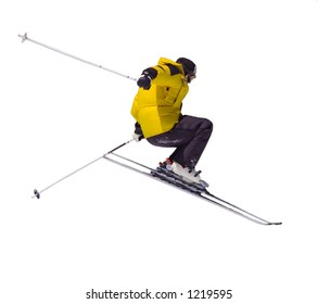 Skier jumping, isolated