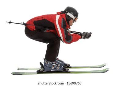 Skier man in aerodynamic pose isolated on white