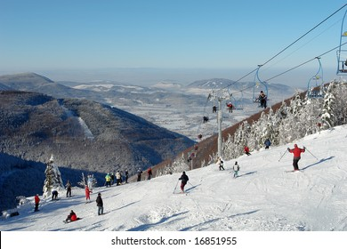 skier in moravian mountains