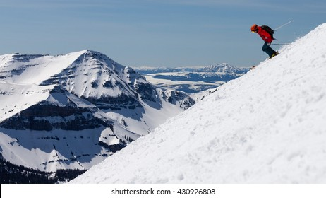 Skier on the back side of Big Sky Montana resort.