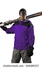 Skier with a purple jacket, holding a pair of skis on a white background.