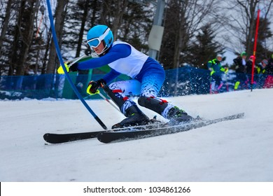 Skier slalom racing