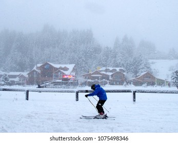 a skier in a strong storm in Bariloche, Argentina