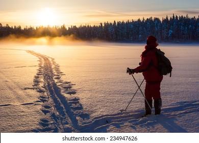 Skier in sunset