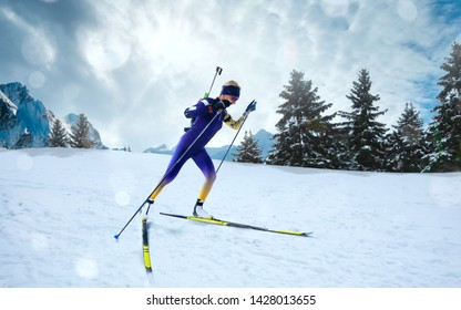 Skier woman in biathlon competitions.