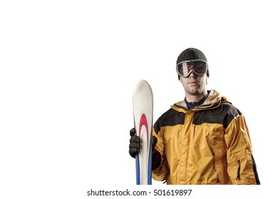 Skier with a yellow jacket, holding a pair of skis on a white background.