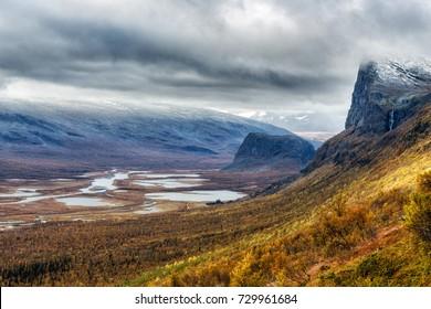Skierffe Mountain in the Sarek Nationalpark in Sweden in autumn