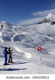 Skiers descend open slopes, heading for the Portes du Soleil town of Avoriaz, France