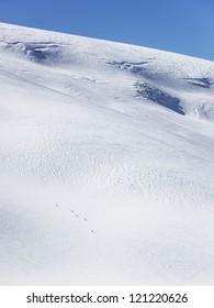 Skiers on glacier in La Grave
