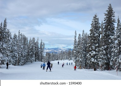 Skiers on a slope in Steamboat Springs, Colorado, Usa