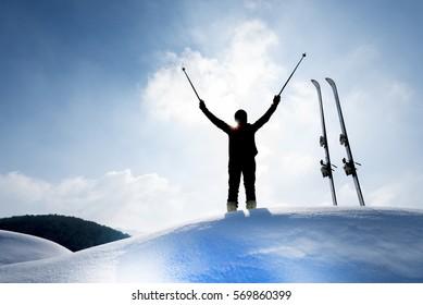 skiers peak performance & skier silhouette