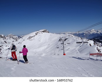 Skiers prepare to descend the piste during the annual winter school holiday on Mar 4, 2013 in Avoriaz, France...