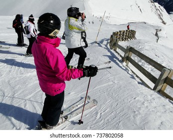 Skiers prepare for their run at a ski area  near Avoriaz, France